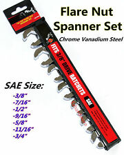 "7PC Crowfoot Spanner Set 3/8""Drive SAE Square Drive Flare Nut Crow Foot Wrench"