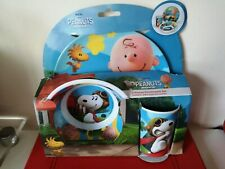 The Peanuts Movie 3 Piece Set - Plate, Bowl, Tumbler - Snoopy and Charlie Brown.
