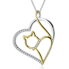 925 Sterling Silver Cute Gold Cat in the Open Heart Pendant Crystal Cz Necklace