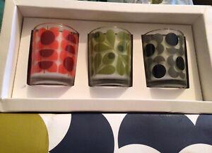Set Of Three Orla Kiely  Candles Earl Grey Fig Tree Geranium 70 G X 3