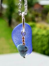 Cornflower Blue sea glass & larimar pendant necklace
