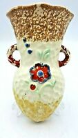 Vintage Wall Pocket Ceramic Planter Floral Hand Painted Two Handled W/Red Flower