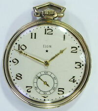 ELGIN ANTIQUE POCKET FACE WATCH 15 JEWELS WORKS NICELY.....gold filed...