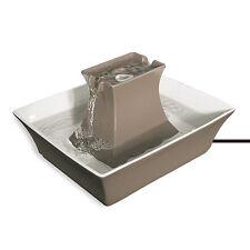 Taupe Ceramic Pagoda Pet Drinking Fountain 70oz Dog Cat Water Bowl 12V Pump New