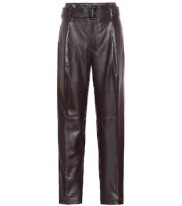 POLO RALPH LAUREN High-rise Straight Leather Pants In Brown US10