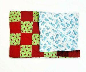 Handmade Baby Quilt Blanket Reversible Unique Multicolor Lady Bugs & Trucks