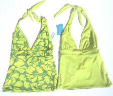 Title Nine Set It & Forget It Green Leaf Tankini Bikini Top Swimsuit REVERSIBLE!