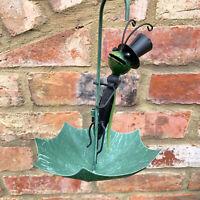 Hanging Green Metal Garden Umbrella Grasshopper Insect Raincatcher Ornament Gift