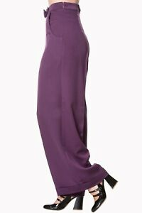 Aubergine High Waist Retro 50's Vintage Wide Legs Flared Trousers BANNED Apparel
