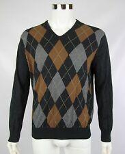 J Crew Mens Medium Gray Brown Argyle Cotton Cashmere Long Sleeve V-Neck Sweater