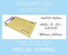 100 X Tamaño D / Ar04 Dvd Oro Kraft Acolchado Sobres-Gratis Primera Clase de Reino Unido Envío