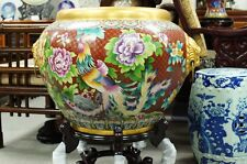 Vintage Chinese Large Cloisonne Bowl Pot Golden Gild