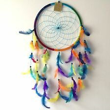 NEW LARGE RETRO RAINBOW FEATHER DREAM CATCHER NATIVE AMERICAN MOBILE MULTI