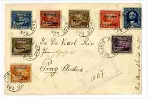 108.  Costa Rica 1912.  Registered letter with seven different 1911 difficult su