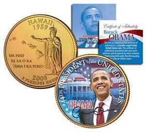 Barack Obama *44th President* HAWAII GOLD State Quarter