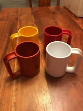 Vintage Ingrid Chicago Melamine Mugs Cups 12 oz  Set of 4 Colors Stackable (JL)