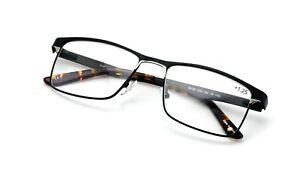 Men Premium Rectangle Stainless Steel Reading Glasses Wide Fitment Metal Reader
