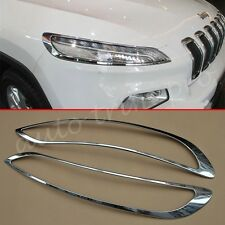 2X Chrome Front Head Light Lamp Cover For Jeep Cherokee 2014-2017 Accessories