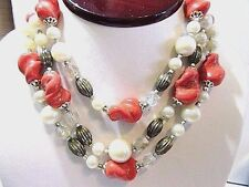 FAUX PEARL ORANGE MOLDED ART GLASS TRIPLE NECKLACE VINTAGE JAPAN STYLISH FASHION