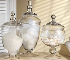 Glass Canisters Set of 3 Home Bathroom Decor Crystal Container Jar Storage NEW