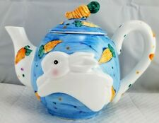Hand Painted Whimsical Teapot 3D Bunny and Carrots Kitchen Decor Easter Wcl