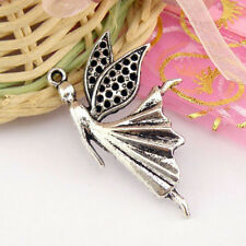 Angels Wing Charms 10 Antique Silver Fairy Charms Pendants LF NF Fairies