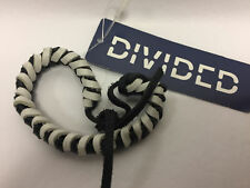 H & M Mens Wear Leather Black And White Tie Bracelet With Tags