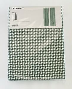 """Ikea ORDENSFLY Curtains 2 Panels (1 pair) 57"""" x 98"""" Houndstooth White/Green"""