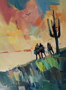 JOSE TRUJILLO Oil Painting IMPRESSIONISM Contemporary COLLECTIBLE Saguaro NR