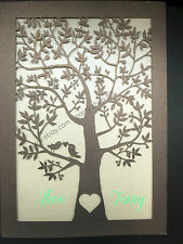 50 Sets Laser Cut Tree and love birds Pocket Wedding Invitation Cards,invites
