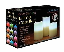3 New Candle Luma Candles Real Wax Flameless Candles with Remote Control Timer