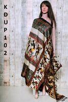 Women Khadi Silk Dupatta Traditional Printed Design Fashion Scarf Wrap Shawl
