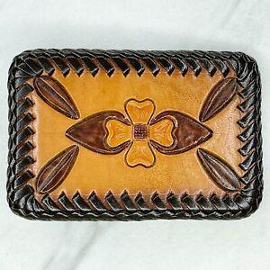 Brown Vintage Floral Tooled Laced Leather Belt Buckle