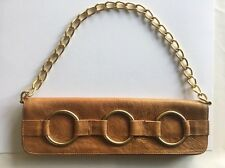 Designer JJ Winters O-RINGS Leather Clutch & Chain Purse Brown