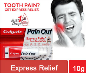 🇬🇧 2 X 10ml **Colgate Pain Out toothache Relief dental gel Clove oil Eugenia