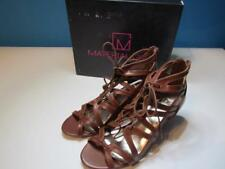 NIB Material Girl Brown Strappy Open Toe Sandal Tie Front Brown 090M