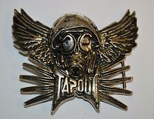 Nice Large Tapout MMA Clothing Brand Wings & Gas Mask Silver Tone Belt Buckle