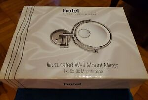 Hotel: 8'' Chrome 1X, 6X, 8x Magnification Wall Mount Lighted Makeup Mirror
