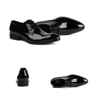 Mens Formal Shiny Leather Dress Shoes Business Wedding Oxfords Office Party Chic