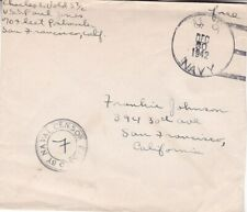 1942 US free mail cover sent from Navy USS Paul Jones with Naval Censor  *d