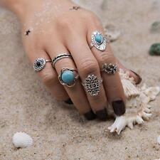 6Pcs/Set Midi Ring Set Boho Beach Vintage Tibetan Silver Rings Gypsy Jewelry