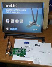 PCI-E Wireless / WiFi N-300 card w/ Std & Low Profile Brackets, 2pcs 5dB Antenna