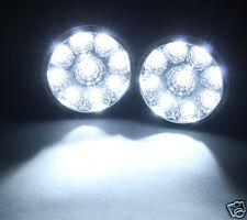 2 x 9 LED Round Daytime Running Driving Light DRL Car Fog Lamp Head Light White