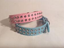 Rhinestone Dog Cat Pet Collar Two Row Diamond Puppy PU Leather-Pink-Small