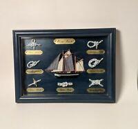Marine Knots with Wooden Sail Boat Shadow Box