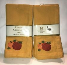 Home Creations Set of 8 Napkins, Gold with 2  Pumpkins,  NIB