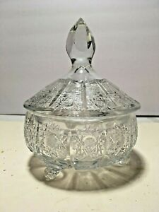 """VTG CUT CRYSTAL HOB STAR AND CROSS HATCH 7.5"""" X 5.5"""" FOOTED COVERED CANDY DISH"""