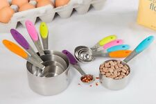 10 Piece Stainless Steel Measuring Cups and Spoons Set with Soft Silicone Handle