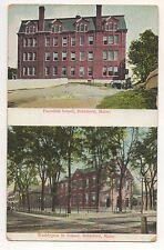 Two Views of Schools in BIDDEFORD ME Vintage Maine Postcard