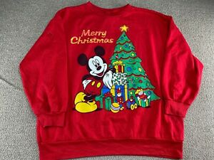 Mickey Mouse Sweatshirt Crewneck 2XL Merry Christmas Walt Disney World Land VTG